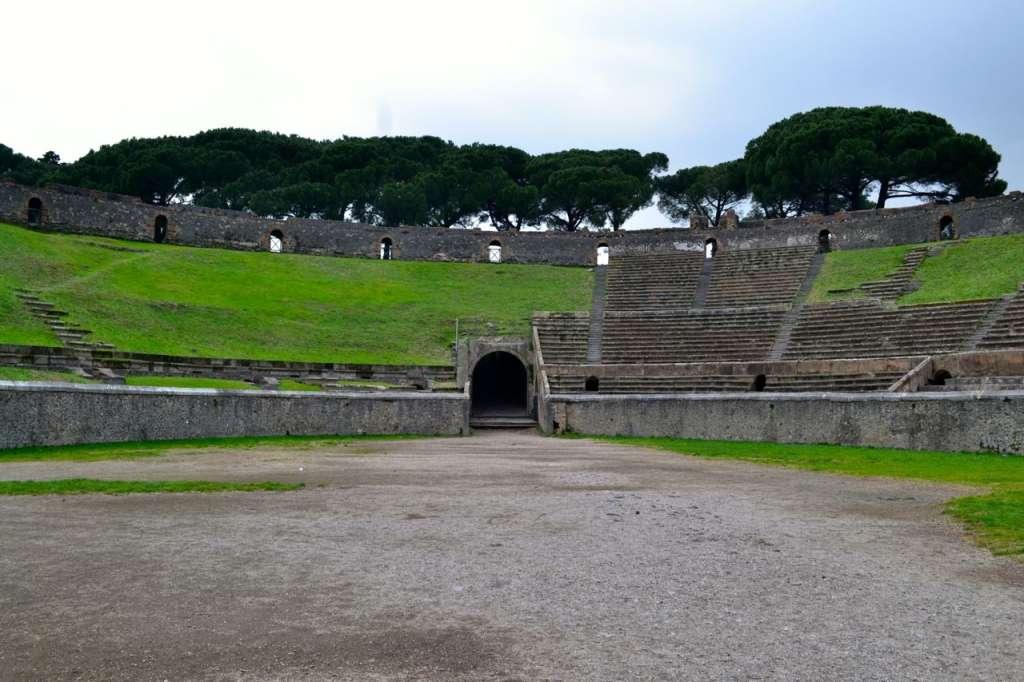 Pompeii amphitheatre interior.