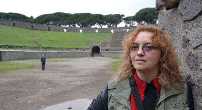 The author at the Pompeii amphitheatre, January 2014.