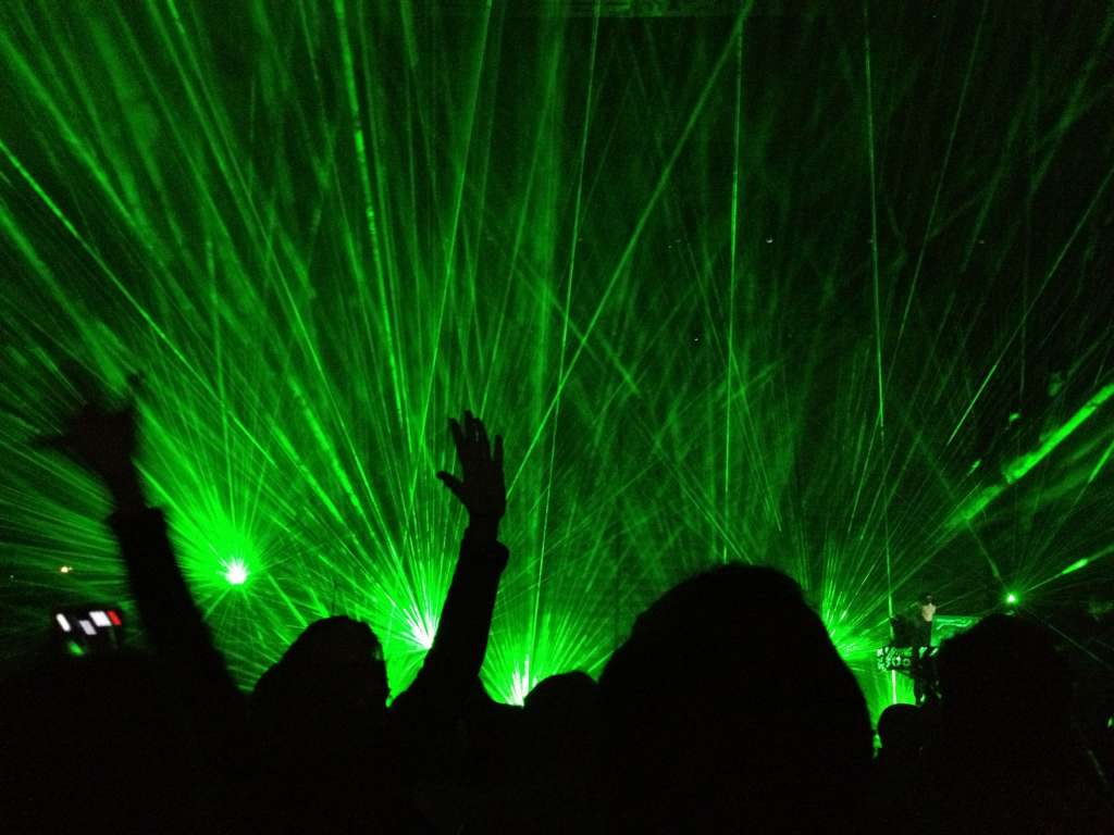 Laser light show at the Pet Shop Boys concert, April 25 in Atlantic City.