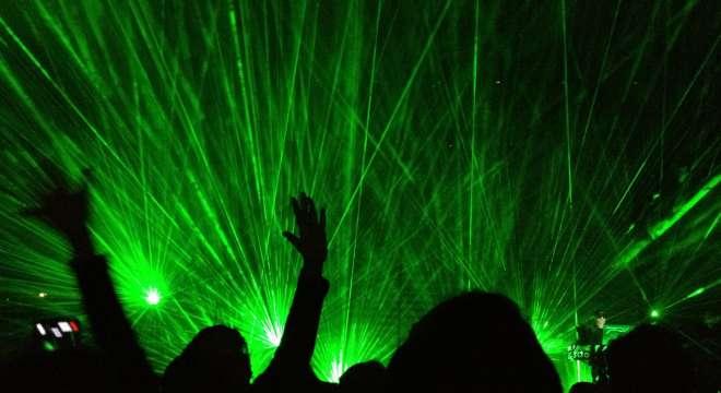Laser light show at the Pet Shop Boys concert, April 25 in Atlantic City.