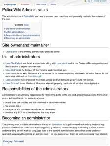 Screencap of the PoliceWiki admin page, describing administrative duties of each individual.