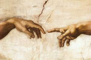"Close-up detail of ""The Creation of Adam"" from Michelangelo's Sistine Chapel frescoes."