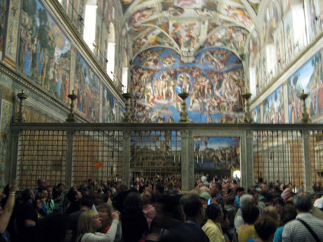 Image: A typical day in the Sistine Chapel: Basically a room full of bodies. Notice all the people taking photos when you're not supposed to as well.