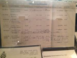 Proposed tour dates, ticket prices and projected earnings for one of The Beatles' tours of America.