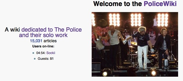 Screencap of a portion of the front page of The PoliceWiki.