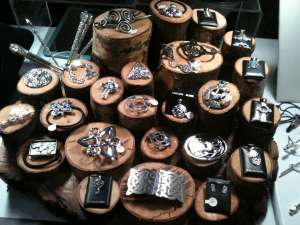 Wooden jewelry display.