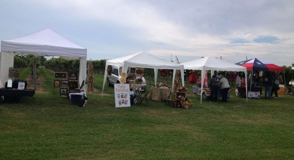 A craft fair taking place at a winery in New Jersey.