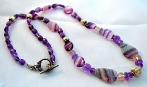 Amethyst and fluorite beaded necklace.