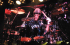 Stewart Copeland on stage with The Police, August 2008.