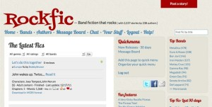 Screencapture of the Rockfic fan fiction archive.