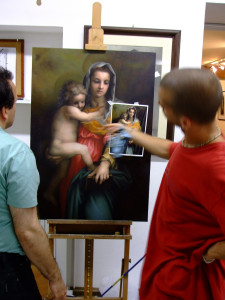 A teaching assistant providing instruction at an art workshop in Florence, Italy.
