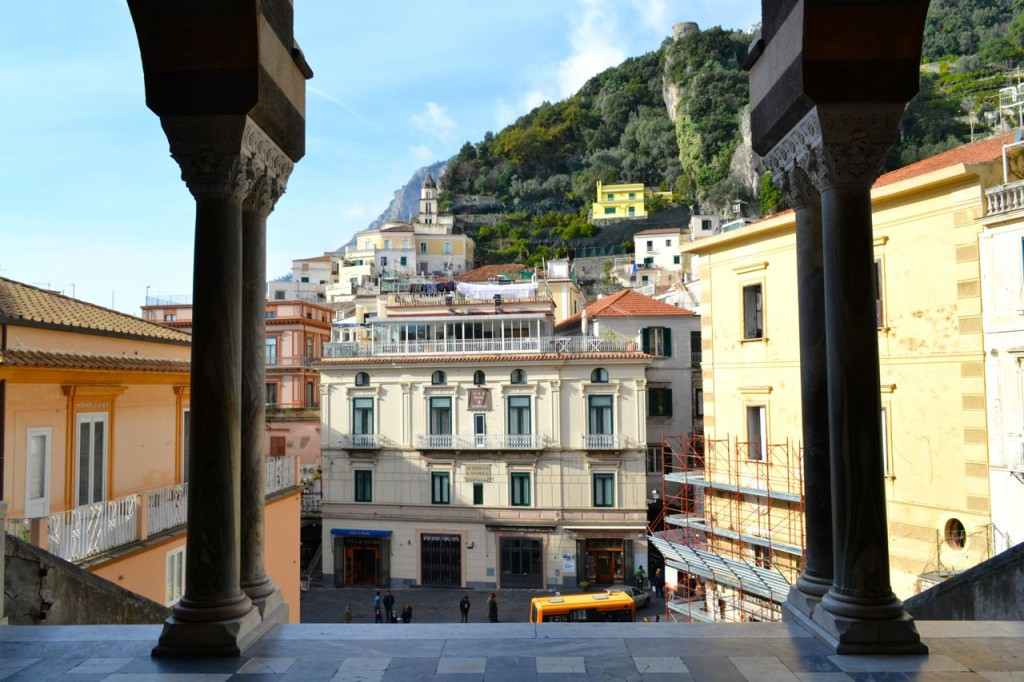 A view of the town from the top of the Duomo steps