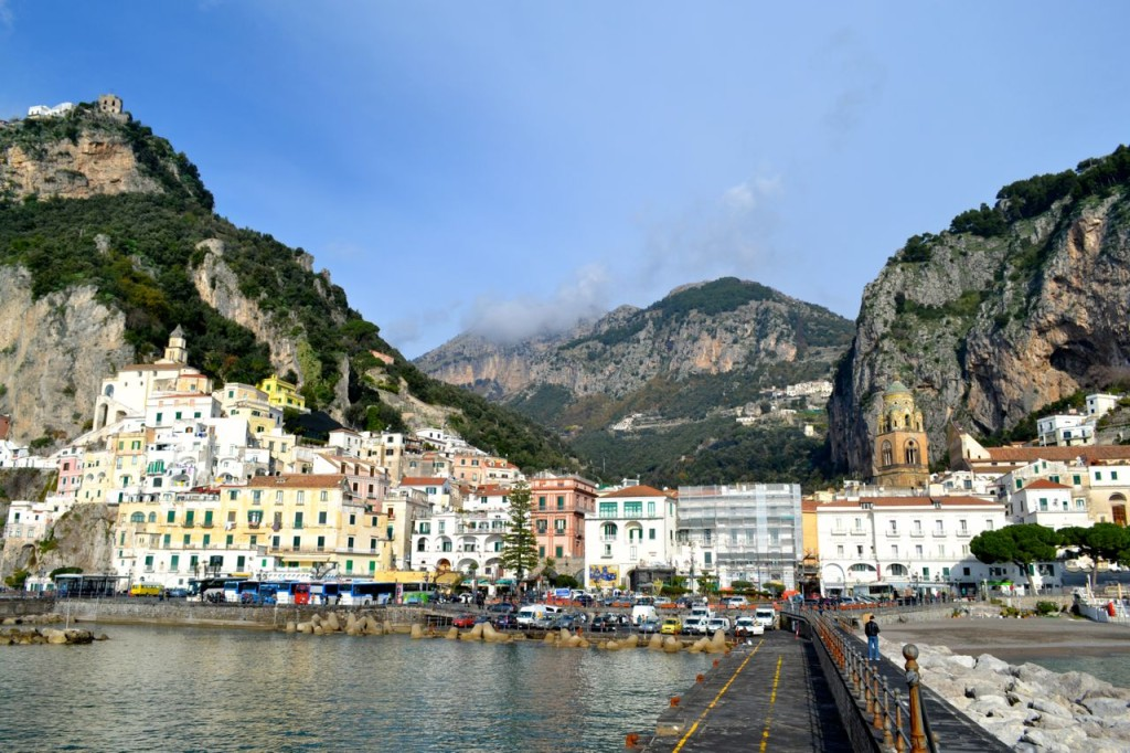 Amalfi town from the shoreline.