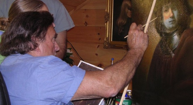 Artist Frank Covino working with a student during a workshop in his Vermont studio.
