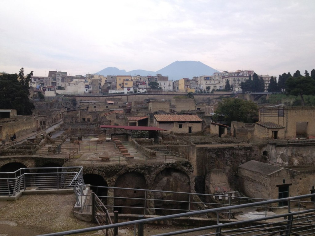 Herculaneum - with modern Ercolano and Vesuvius in the background