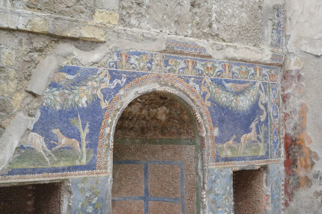 Colorful mosaics, still preserved today in Herculaneum.