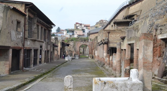 A street you can walk along when you visit the ruins of Herculaneum.