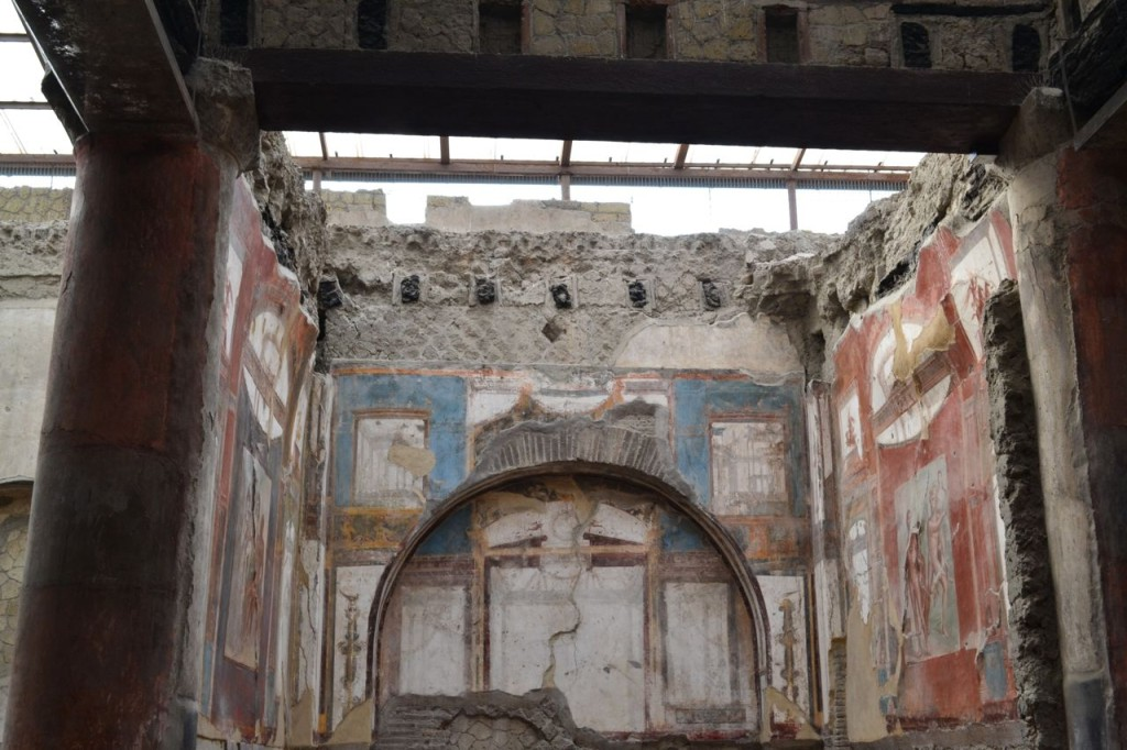 Inside the College of the Augustales in Herculaneum.