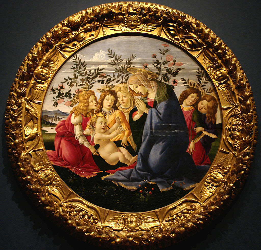 Madonna Adoring the Child with Five Angels by Sandro Botticelli, on view at the Baltimore Museum of Art.