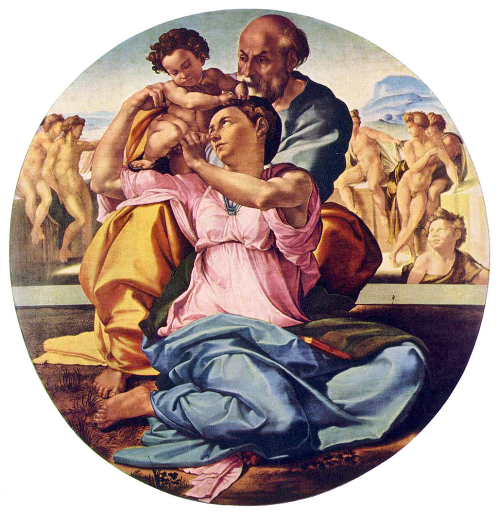 Michelangelo Buonarroti, the Doni Tondo. On view at the Uffizi Gallery in Florence, Italy
