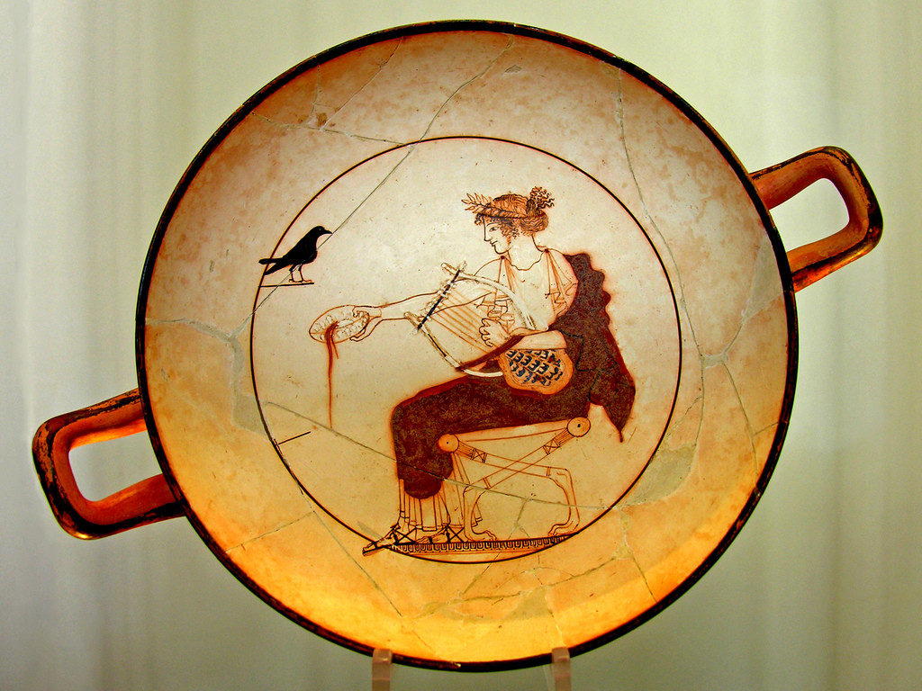 White-ground kylix (wide-bowled drinking cup), found in a tomb at Delphi.
