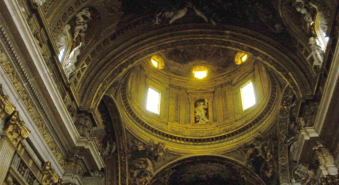Inside Sant'Ignazio Church in Rome, Italy.