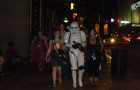 Cosplayers walking through downtown Atlanta during DragonCon 2010.