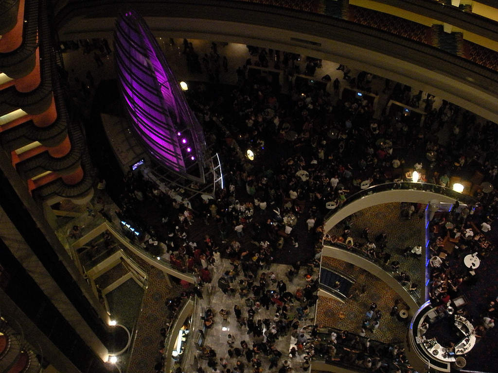 Massive swarms of Dragon*Con attendees at one of the main host hotels, the Marriott Marquis.