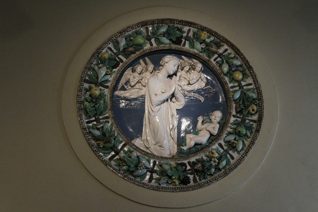 Virgin and Angels Adoring the Christ Child by Luca Della Robbia. On display at the Philadelphia Museum of Art.