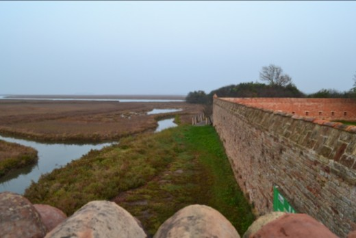 The view from the top of the perimeter wall at Lazzaretto Nuovo.