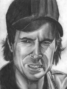 "One of my early pieces of fan art, a pencil drawing of Dwight Schultz as ""Howling Mad"" Murdock from The A-Team."