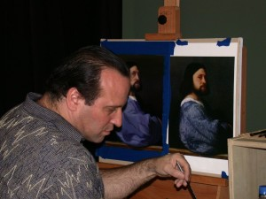 My partner David at work on a Titian reproduction in an art workshop.