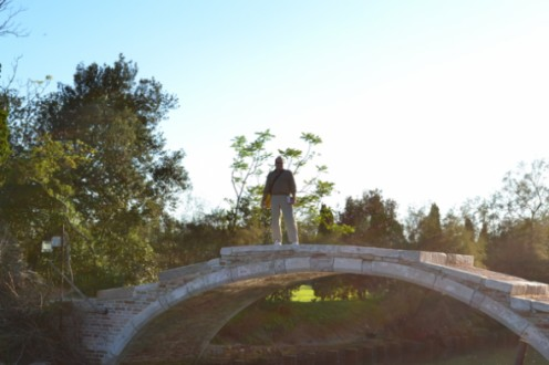 "Crossing the famous ""Devil's Bridge"" of Torcello."