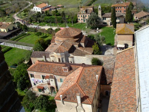 A view from Torcello's bell tower, looking over the church structures.