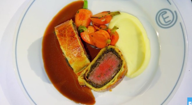 Gordon Ramsay's famous Beef Wellington, which the home cooks must recreate on this week's MasterChef.