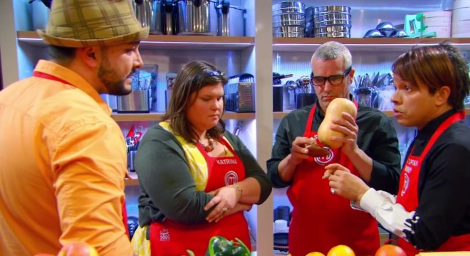"Screencapture from the August 12 2015 episode of MasterChef ""Getting A-Head in the Competition""."