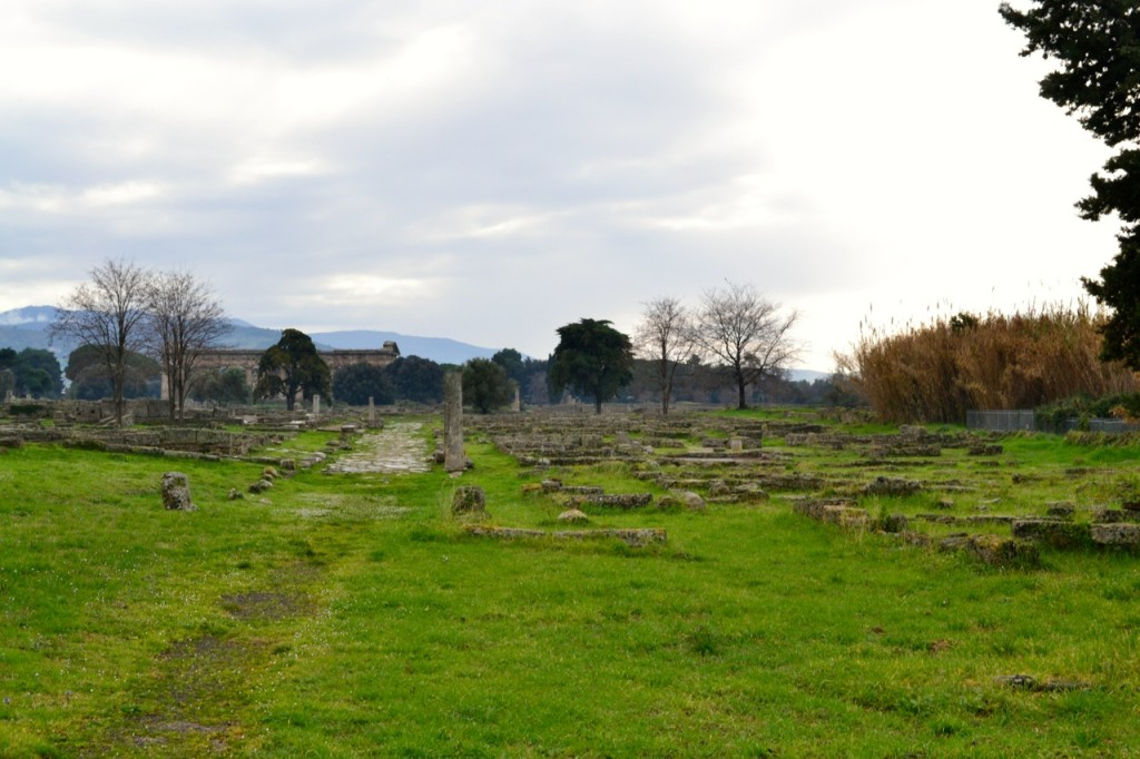 Walking away from the Temple of Athena, you see the first evidence of the Roman city (and the temples of Hera in the distance).