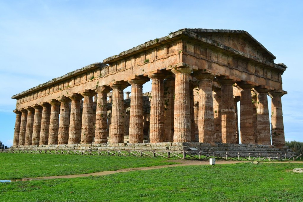 One of the three major temples at the ruins in Paestum.