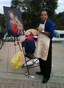 David giving a painting demonstration at the Italian Heritage Festival of Gloucester County, October 2010.