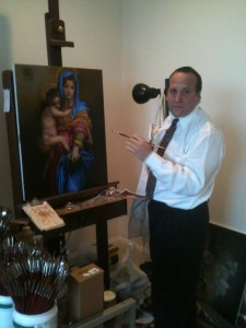 David working on a Madonna and Child reproduction in his home studio