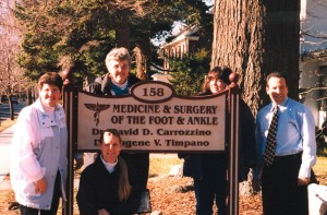 David and staff outside of his podiatry office.