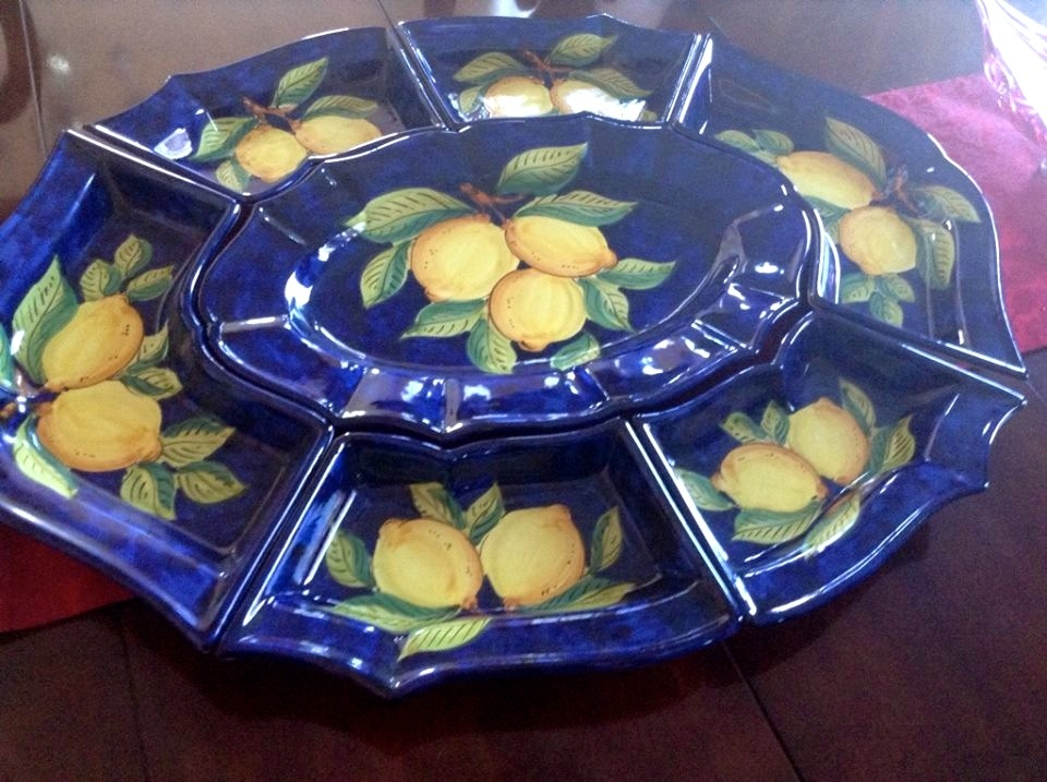 A multi-piece serving platter purchased on Capri.