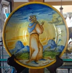 An antique, Renaissance-era maiolica plate in our collection.