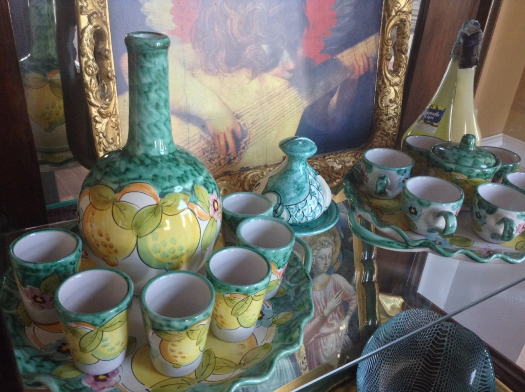 Ceramic limoncello and espresso sets purchased in Salerno, Italy. The light green color is typical of ceramics from the region.