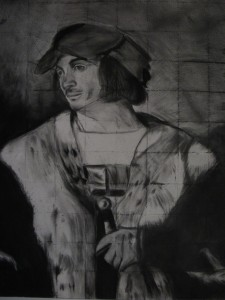 The charcoal drawing